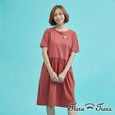 【Tiara Tiara】百貨同步 假兩件式蕾絲短袖洋裝(綠/紅)