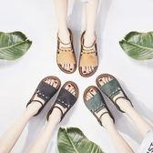 涼鞋 百搭厚底松糕涼鞋平底羅馬一字帶休閒女鞋 巴黎春天