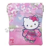 〔小禮堂〕Hello Kitty 迷你方形皮質零錢包《粉.櫻花》收納包.耳機包 4991567-26540