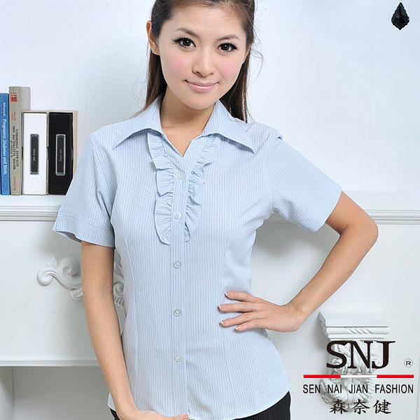 更改商標中,庫存售完為止【S-31E-1】森奈健-纖細美感OL花邊短袖女襯衫(淺灰色條紋)