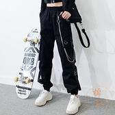 工裝褲女寬鬆韓版大口袋顯瘦直筒高腰褲子【橘社小鎮】