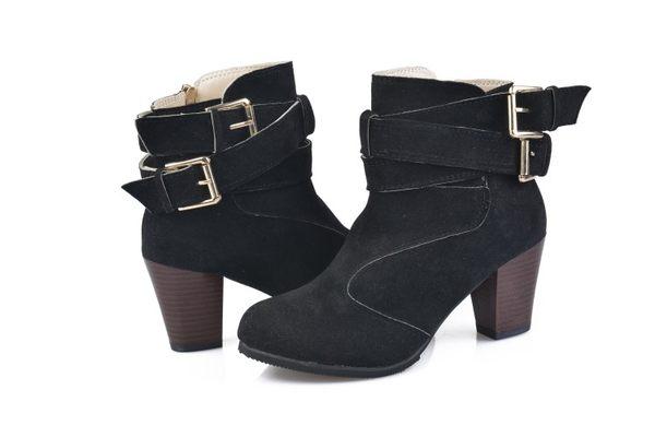 丁果、大尺碼女鞋35-42►時尚雙扣帶高跟短靴*3色 現貨