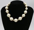 【找到自己】韓國時尚奢華大珍珠間隔水鑽球女鎖骨鏈晚禮服配飾
