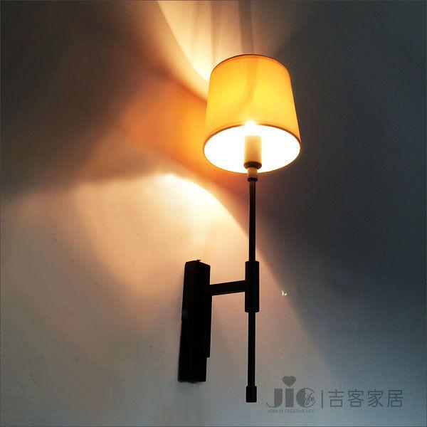 [吉客家居]壁燈 - 貝爾壁燈  金屬布罩造型時尚簡約北歐美式鄉村客廳玄關臥室走道民宿咖啡館