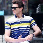 英倫夏季短袖t恤男裝成熟有帶領中年商務休閒翻領條紋半袖polo衫 魔方數碼館
