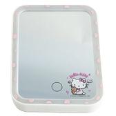 小禮堂 Hello Kitty 方形LED化妝鏡 補光燈化妝鏡  美妝鏡 桌鏡 立鏡 (粉 小熊) 4718007-01357