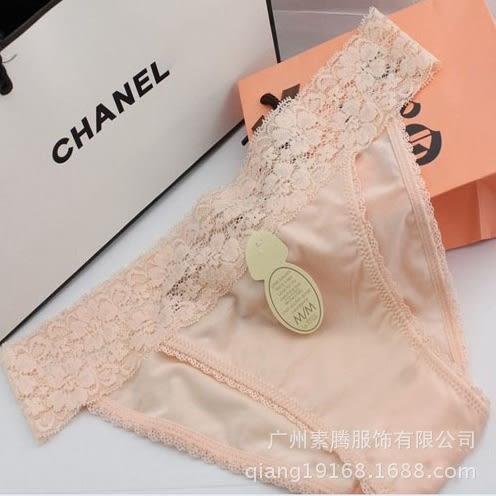 心鑽閃耀.高質感絲滑蕾絲彈性內褲(粉膚色) S~L Choco Shop