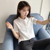 梅梅露*【55180289】V領壓褶修身韓風短袖襯衫上衣