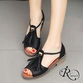 復古時尚流蘇造型魚口低跟涼鞋/4色/35-39碼 (RX0061-C30) iRurus 路絲時尚