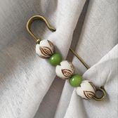 新年好禮 蓮花菩提別針胸針女款胸花 披肩扣 配大衣毛衣開襟白綠手工飾品