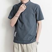 Polo衫寫意夏季新款韓版休閒polo衫男裝文藝簡約百搭保羅衫棉短袖T 新年禮物
