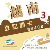 《Viettel越南軍隊》每日4GB 3天高速流量越南原廠卡/3-30天任選/越南網卡