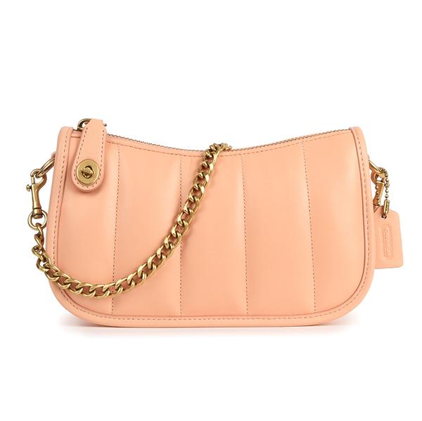 COACH Swinger20直縫線小羊皮手提鏈帶包/晚宴包(粉橘色)194325