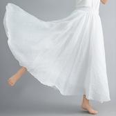 夏天裙子復古文藝雙層棉麻大擺長裙顯瘦荷葉邊中長款白色半身裙女-米蘭街頭
