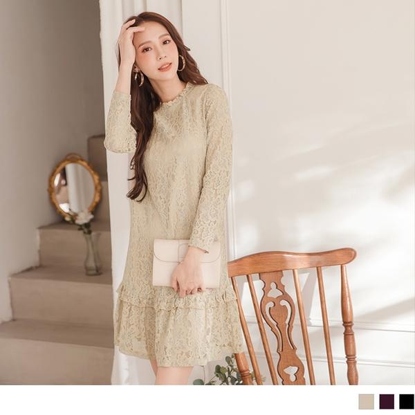 《DA6194-》荷葉裙襬拼接滿版蕾絲長袖洋裝 OB嚴選