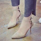 包頭一字扣涼鞋女黑色性感細跟百搭女士高跟鞋子