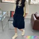 夏季新款韓版休閒寬鬆顯瘦復古減齡洋氣牛仔背帶短裙連衣裙女 快速出貨