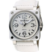 Bell & Ross Aviation 軍事飛行陶瓷機械腕錶-珍珠貝x白/42mm BR0392-WH-CE/SWA
