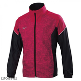 MIZUNO 男裝 外套 立領 休閒 套裝 防潑水 兩側口袋拉鍊 網布內裡 紅黑【運動世界】32TC058462