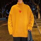男士毛衣時尚加厚上衣 學生愛心印花潮流秋冬保暖打底衫 文藝男生針織衫 長袖男生韓版毛衣