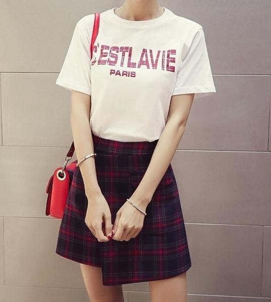 FINDSENSE MD 韓國時尚 女 寬鬆 字母印花短袖T恤 高腰格子短裙 兩