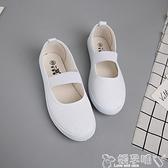 護士鞋一字牌芭蕾舞鞋女平底白色護士鞋鬆緊帶防滑工作鞋舒適女士小白鞋 嬡孕哺 新品