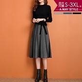 加大碼連身裙-優雅拼接收腰中長版針織洋裝(S-3XL)