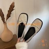 珍珠豆豆鞋女復古法式單鞋一腳蹬懶人小皮鞋百搭休閒【橘社小鎮】