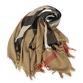 BURBERRY經典大格紋羊毛方形披肩薄圍巾(卡其棕)089547