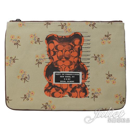 茱麗葉精品【全新現貨】COACH 76933Vandal Gummy小熊聯名大手拿包.米色