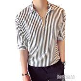 夏季五分袖襯衫男寬鬆bf風發型師休閒中袖條紋短袖襯衣韓版潮流57