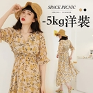 洋裝 Space Picnic|-5kg大花朵高腰微透短袖洋裝(現+預)【C21034011】