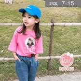 韓國韓版女童T恤。ROUROU童裝。夏女童中小童娃娃印花短袖T恤 0221-406