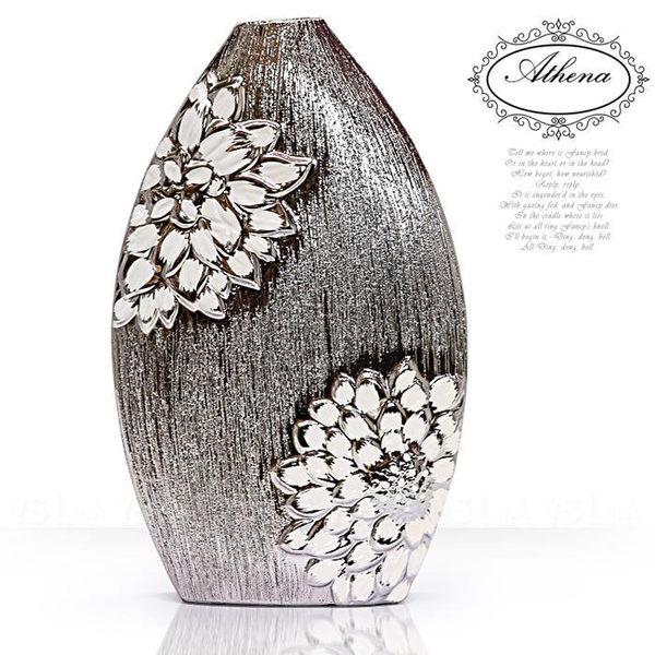 陶瓷髮絲紋鍍銀薔薇蛋型花器