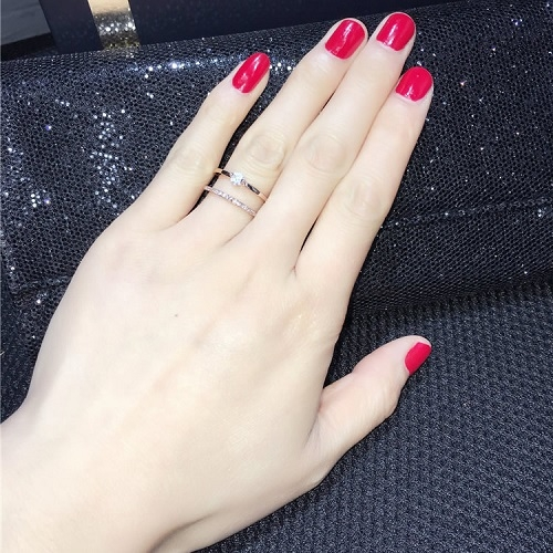 【NiNi Me】韓系戒指 氣質甜美微鑲鋯石水鑽雙層開口式戒指 戒指 F0020