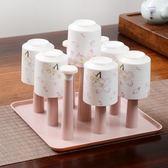 廚房杯子架子瀝水架創意家用多功能客廳杯架帶托盤倒掛茶杯收納