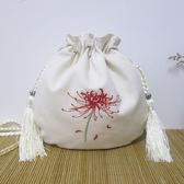 刺繡包原創復古中國風包包漢服繡花手機包袋側背斜背包彼岸花文藝帆布包 爾碩數位3c