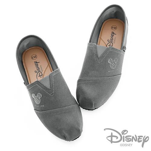 DISNEY 隨興趣味 素色經典米奇懶人鞋-灰(男)