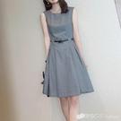 無袖洋裝 灰色氣質褶皺收腰洋裝女裝夏季新款優雅百搭無袖A字背心裙 檸檬衣舍
