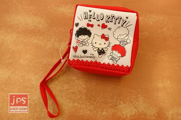 Hello Kitty 凱蒂貓 45週年 隨身方型零錢包 收納包 紅白 KRT-265383