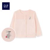Gap女嬰可愛動物造型紐扣針織開衫474939-霜粉