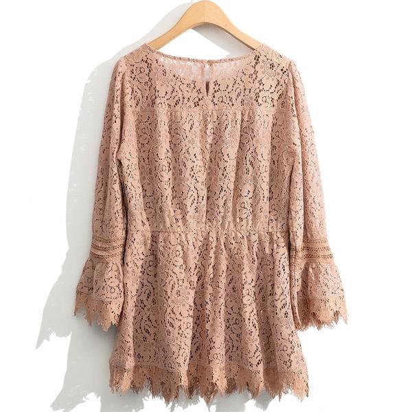 秋裝上市[H2O]全蕾絲高質感中高腰中長版上衣 - 黑/白/粉色 #0655015