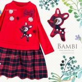 新年風-花朵小鹿學院風格紋洋裝(260364)★水娃娃時尚童裝★