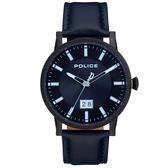 【台南 時代鐘錶 POLICE】義式潮流 Collin 極簡大三針時尚腕錶 15404JSB-02M 皮帶 藍/黑 42.5mm