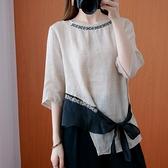 棉麻上衣 夏季寬松輕薄苧麻刺繡襯衫女文藝復古不規則棉麻系帶中袖麻料上衣