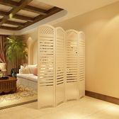 田園韓式簡約現代臥室屏風隔斷玄關時尚客廳雕花摺疊屏風百葉屏風
