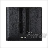 BALLY Teisel金屬LOGO黑灰黑條紋設計牛皮4卡對折短夾(黑)