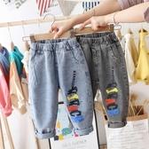 牛仔褲男童褲子兒童牛仔褲春秋2020新款洋氣寶寶單褲小童休閒褲老爹褲潮 新品