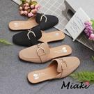 穆勒鞋.韓風造型飾釦平底包鞋