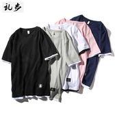 T恤男短袖圓領寬松運動純棉 加大碼假兩件 S-5XL可選